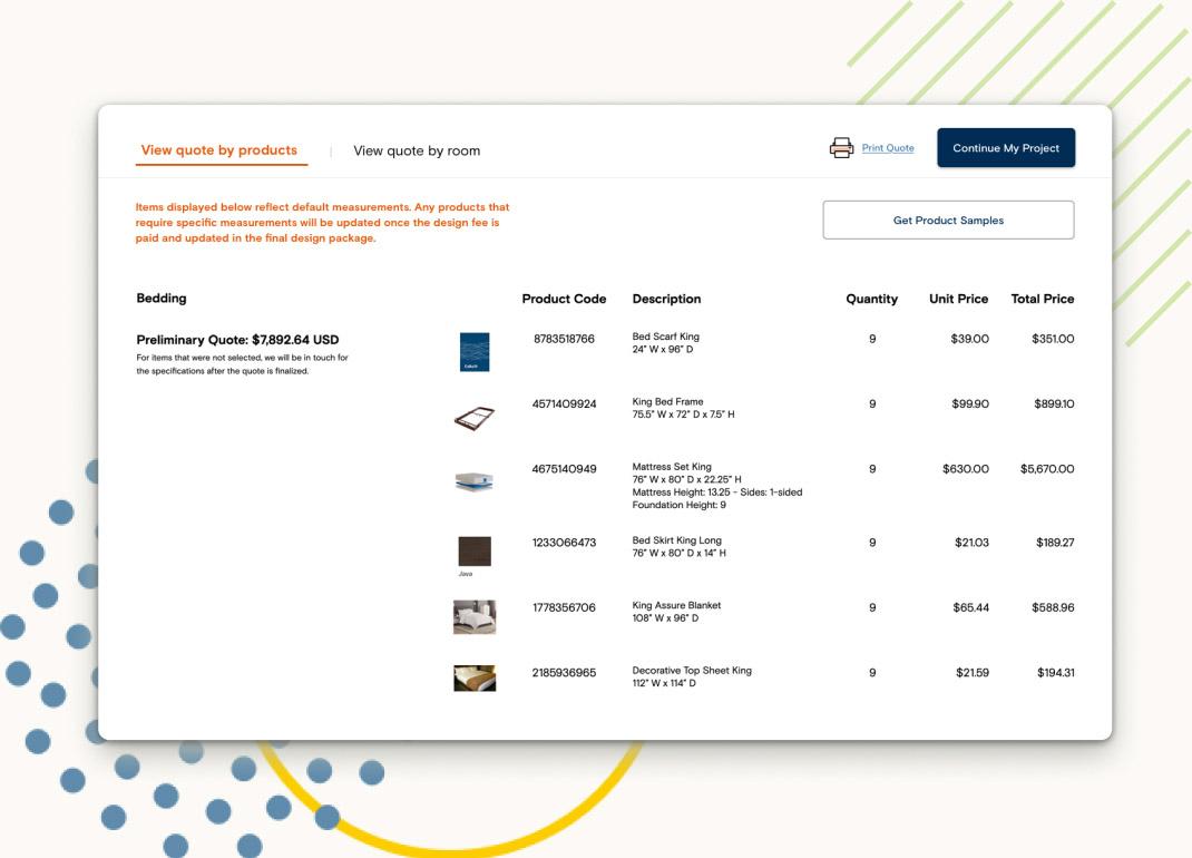 Screenshot of builder summary