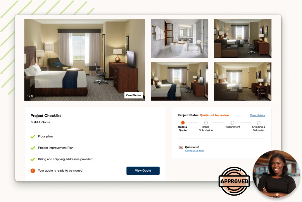 Screenshot of builder project with room preview images