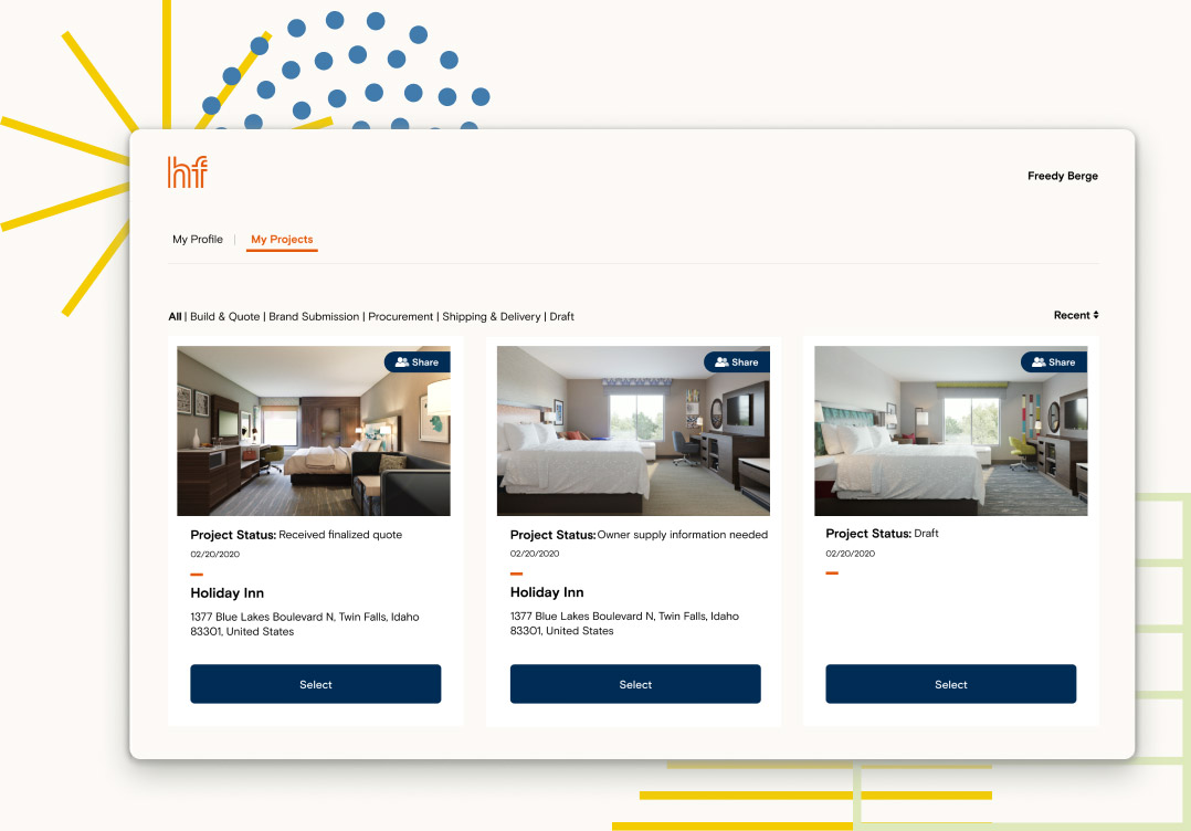 Screenshot of builder project selection